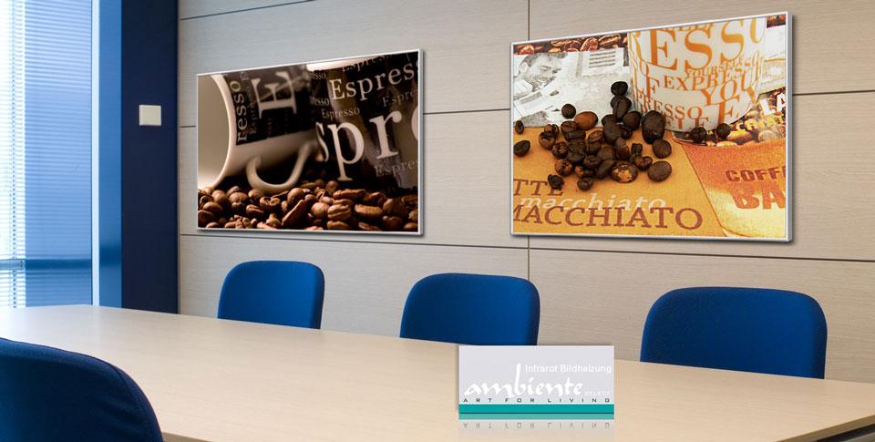 """Infrarotheizungen am Arbeitsplatz: Bildheizungen aus Glas bedruckt mit Motiv """"café"""" und """"café2"""""""