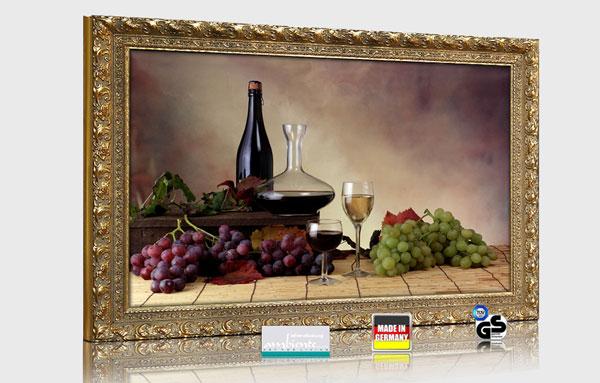 """Infrarot Bildheizung 500 Watt 90x60 mit Stilrahmen Goldfarben """"Wein-Trauben"""" 3d Ansicht"""