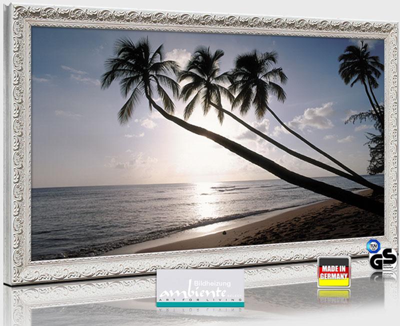 """Infrarot Bildheizungen mit Stilrahmen antik weiß 600 Watt ESG Glas: Foto Motiv """"Barbados"""""""