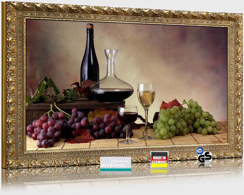 """Infrarot Bildheizungen mit Stilrahmen Goldfarben 600 Watt Motiv """"Wein-Trauben"""""""