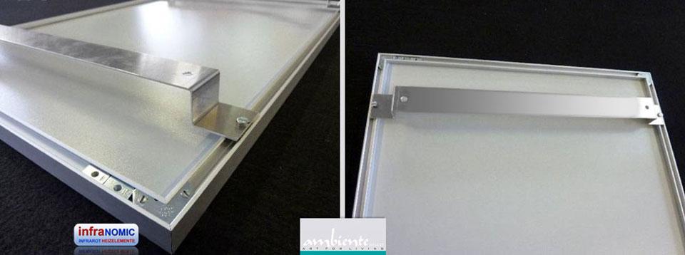 Infrarot Deckenheizungen können an der Decke mit Aluschienen (2 Stück im Set) montiert werden