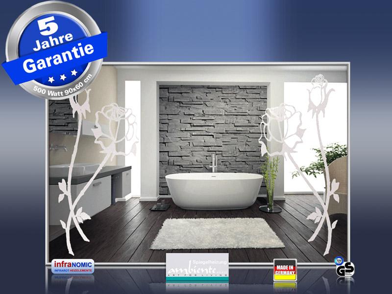 Design Spiegelheizung mit Rosen Design Sand gestrahlt Frontal Ansicht
