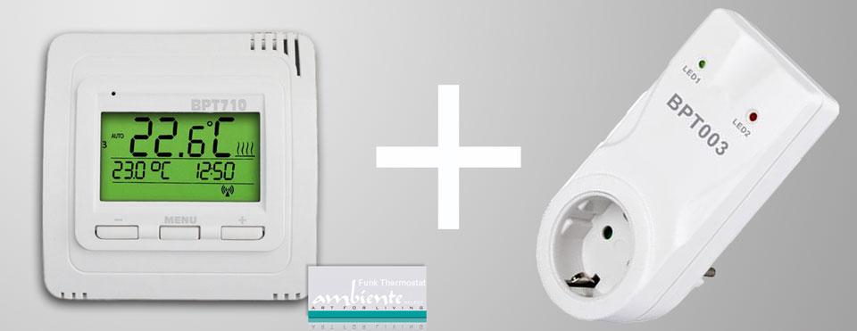 Thermostate und Zubehör: Funk-Thermostat Set BPT710 Sender mit BPT003 Steckdosen Empfänger