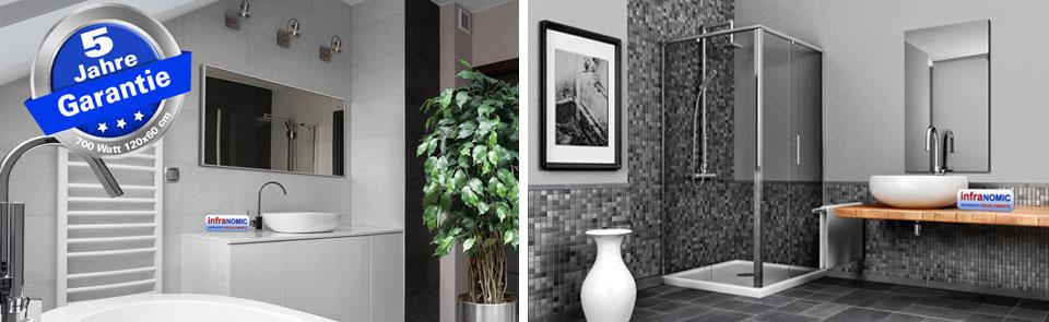 Infrarotheizungen als Spiegel: Heizspiegel 700 Watt mit Alurahmen im Badezimmer