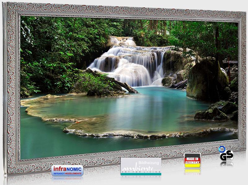 """Infrarot Glas Bildheizungen mit Stilrahmen Silberfarben 700 Watt: Motiv """"Flusslauf"""""""