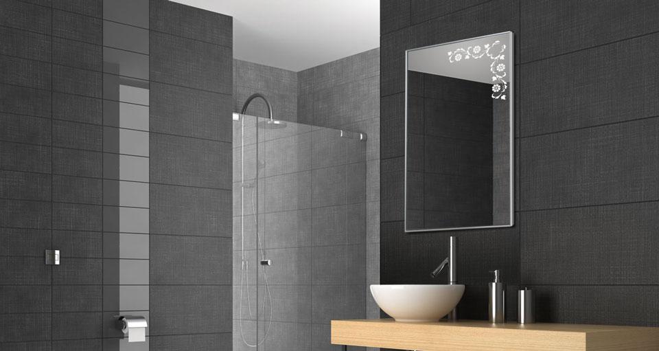 Design Spiegelheizungen Bad 500 Watt 60x90 cm mit Design Blumenranke Sand gestrahlt