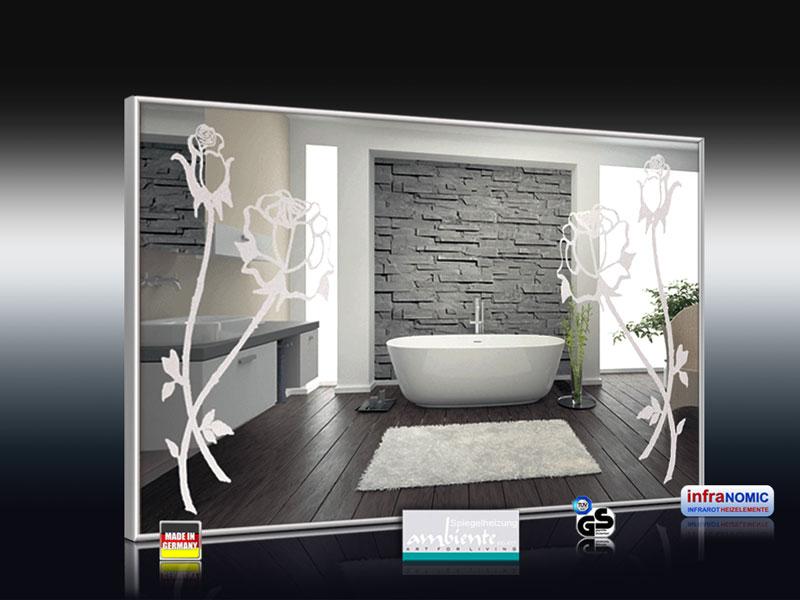 Design Spiegelheizung mit Rosen Design Sand gestrahlt 3d Ansicht