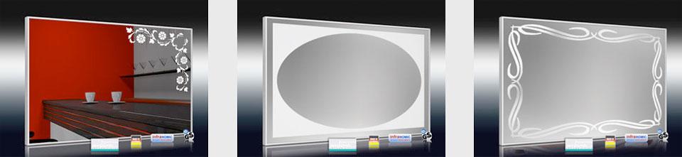 Design Spiegelheizungen mit Sand gestrahlten Dekor Übersicht 1