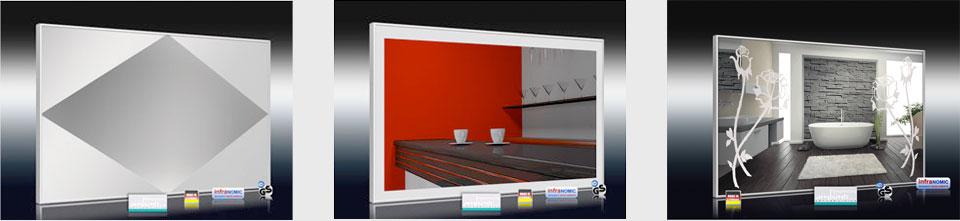 Design Spiegelheizungen mit Sand gestrahlten Dekor Übersicht 2