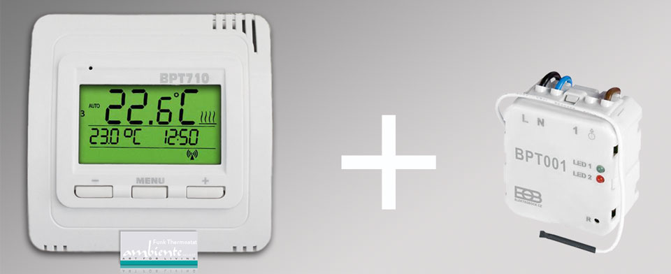 Thermostate und Zubehör: Funk-Thermostat Set BPT710 Sender mit BPT001 UnterputzEmpfänger