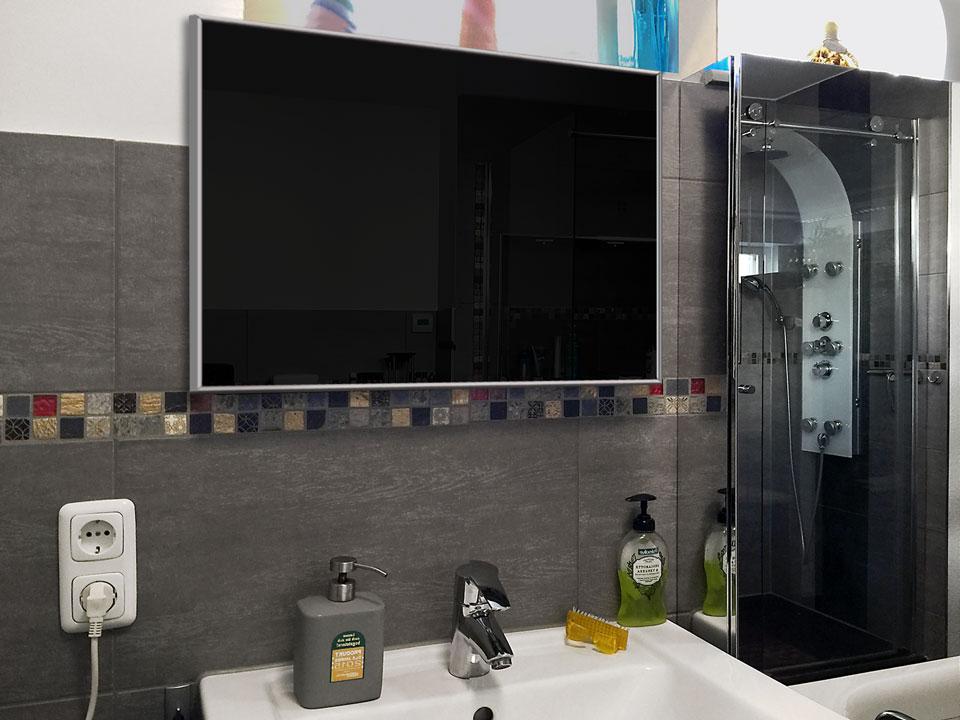 Infrarotheizungen Glas schwarz 500 Watt 90x60 cm IPX4 optimiert als Bad Heizung