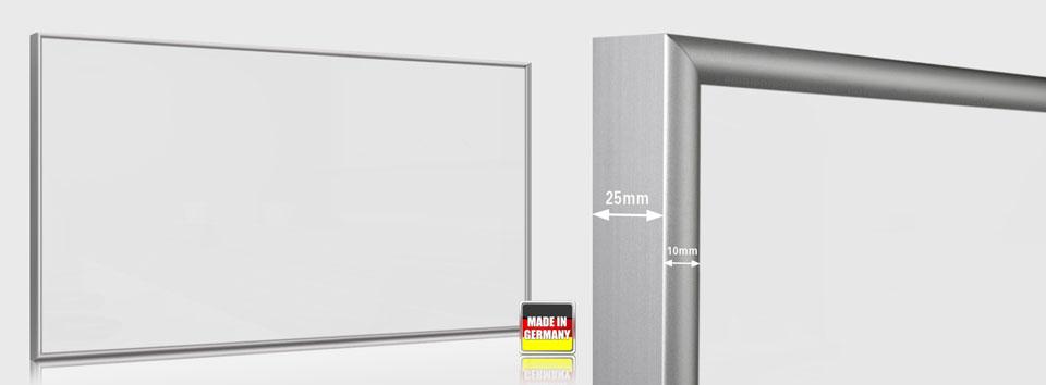 Infrarotheizung weiß 700 Watt 120x60 cm ESG Sicherheitsglas weiß emailliert mit Rahmen M10