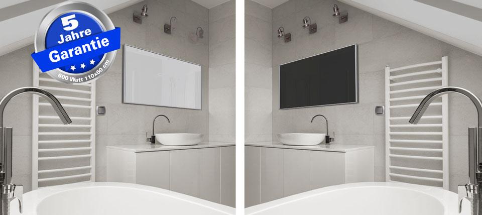Infrarotheizungen 600 Watt ESG Glas weiß und schwarz emailliert im Bad mit Alurahmen M10 silber