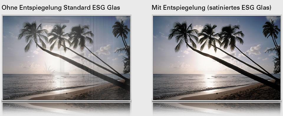 infrarot Bildheizungen mit normalen ESG Glas und mit satinierten Glas (entspiegelt)