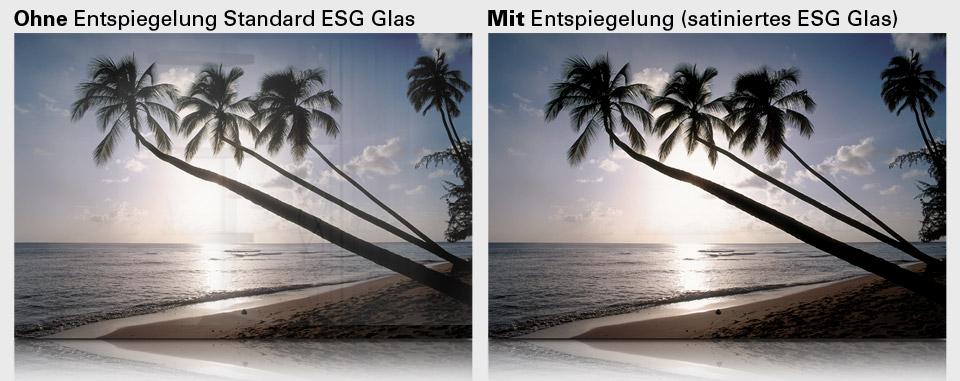 Bildheizung Rahmenlos ohne und mit Entspiegelung