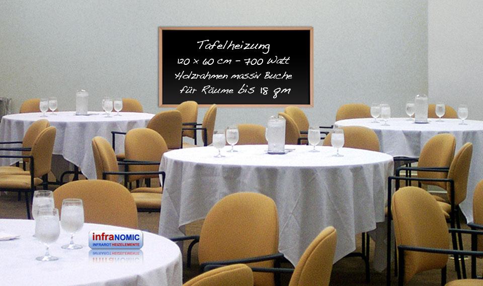Infrarotheizungen am Arbeitsplatz: Tafelheizung im Restaurant als Tageskarte